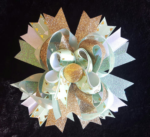 Glitter Gold Bling Hair Bow w/Mint Green