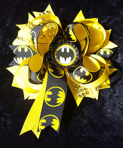 Batman Hair Bow Clip w/ Tail
