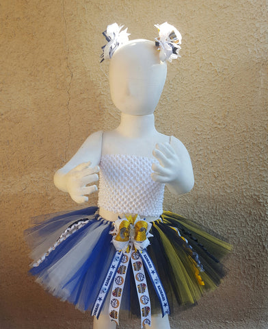 Dallas Cowboys vs Pittsburgh Steelers Tutu w/ Double Hair Bows Clips