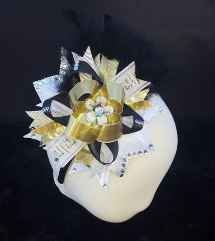 Black & Gold Bling Headband W/Feather