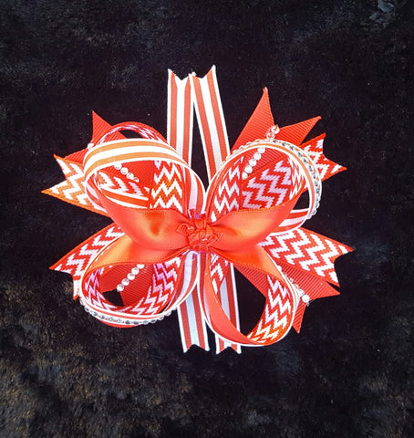 Red Chevron Hair Bow