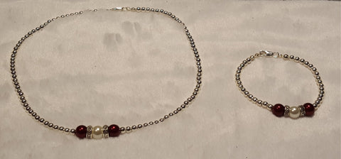 Burgundy & Ivory Jewelry Set