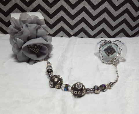 Gorgeous Gray Pacifier & Clip Set