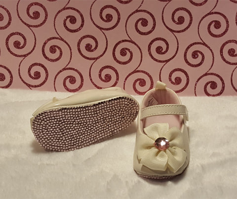 Ivory & Pink Bling Baby Shoes