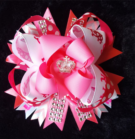 Princess Pink Bling Hair Bow2 w/Rhinestones