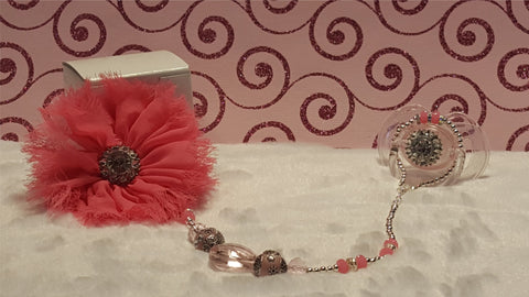 Pretty In Pink Pacifier & Holder Clip