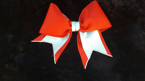Red Cheer Hair Bow W/ Baby Blue Accents
