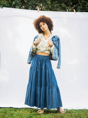 Frida Tiered Maxi Skirt in Chambray