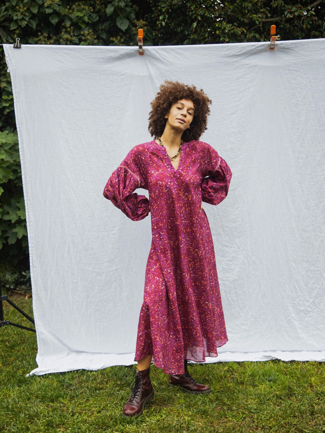 Freya Dress in Plum Sunset