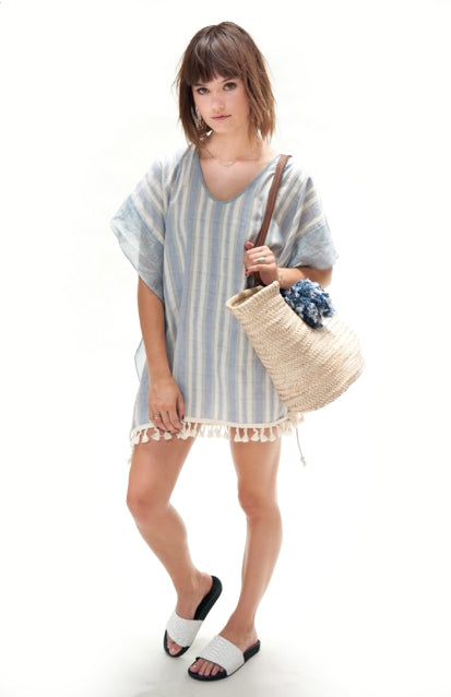 Kauai Kaftan Poncho in Stripes,poncho, sand & sea club- Woo