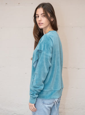 Ruffle Velour Pullover - Dusty Blue