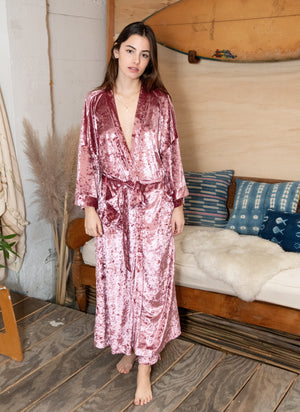 women crushed velvet velour pink rose cozy robe kimono cover up festival wear cover up wrap