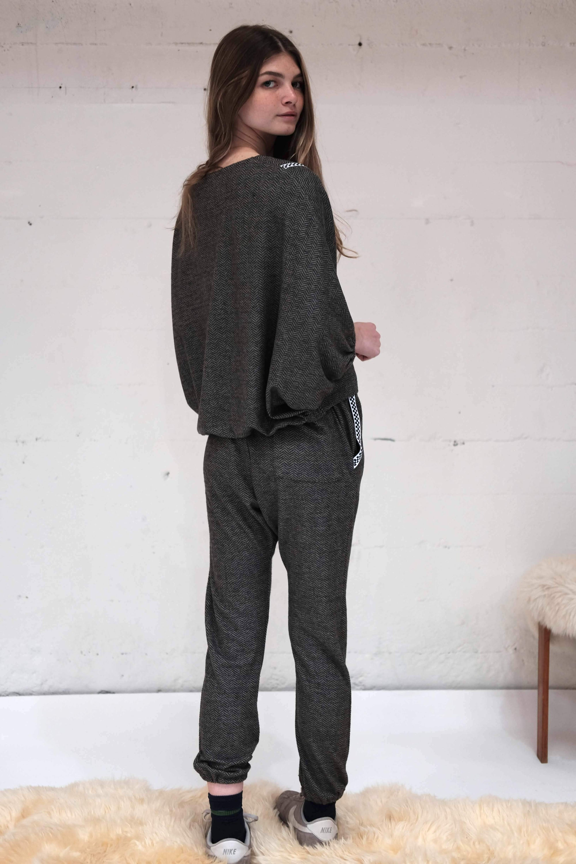 Sumac Sweatpant - herringbone chevron,, The Uplifters- Woo