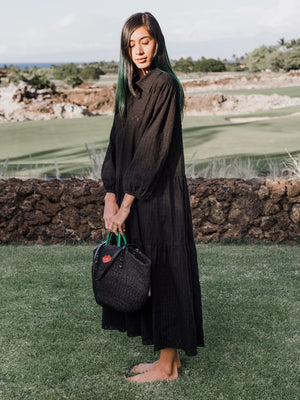 Oversize Tunic Dress - black poplin,, Woo- Woo