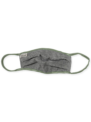 Light grey mask with muted green elastic against a white background