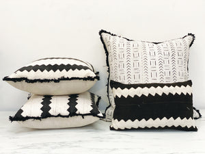 Vintage African Mudcloth Pillows - ivory
