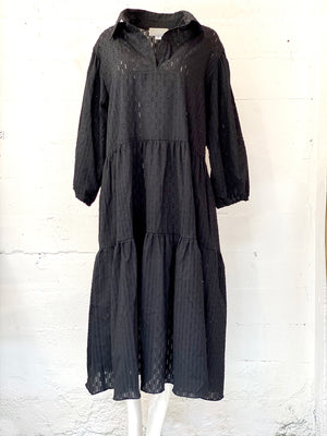 Tiered Tunic Dress in Black