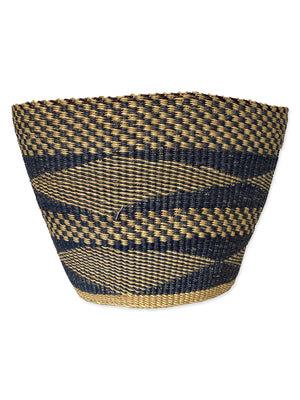 Ghanaian Navy & Natural Solid Weave Bin