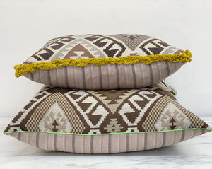 Vintage Print Pillow - brown