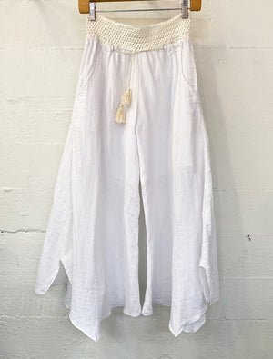 Justine Palazzo Pant in White Gauze