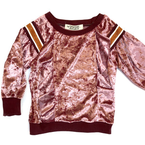 Kids Crushed Pink Velvet Sweatset,, The Uplifters- Woo