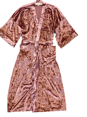 womens crushed pink rose wrap velvet robe kimono boho cover up velour festival beach cozy duster