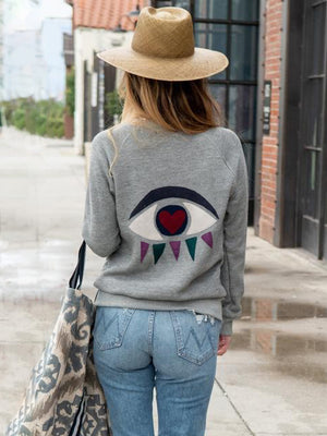 Eyes on You Cashmere Applique Pullover