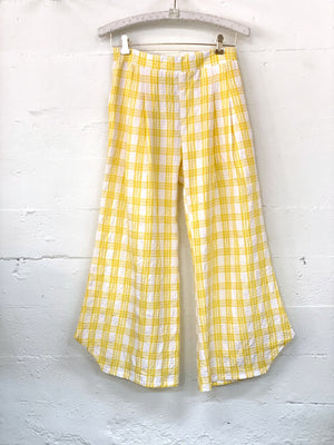 Fan Pant in Yellow Plaid