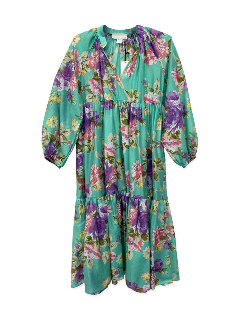 Eden House Dress in Turquoise Peony