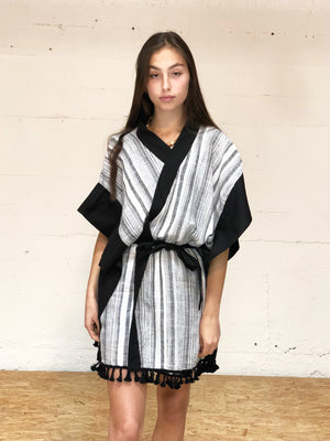 Kaftan Mini Robe - black stripe,, Woo- Woo