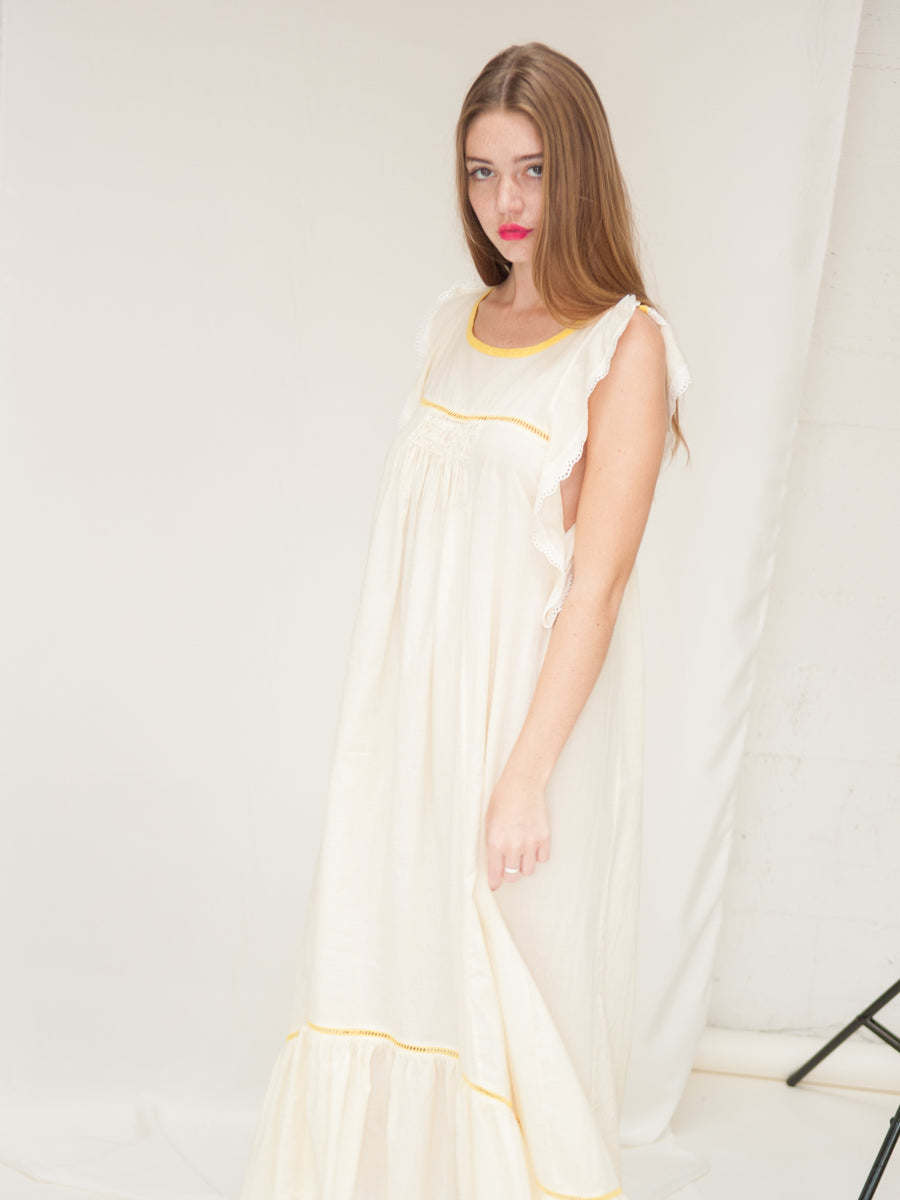 Kelsey Flutter Dress in Ivory