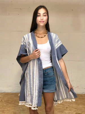 Kaftan Mini Robe - blue stripe,, Woo- Woo