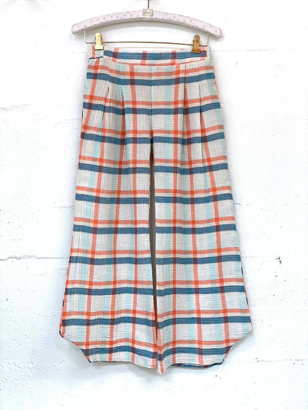 Fan Pant in Plaid Gauze