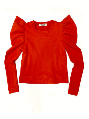 Greta Balloon Sleeve Sweatshirt in Red