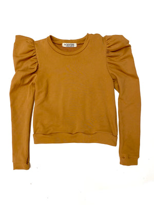 Greta Puff Sleeve Sweatshirt in Chestnut