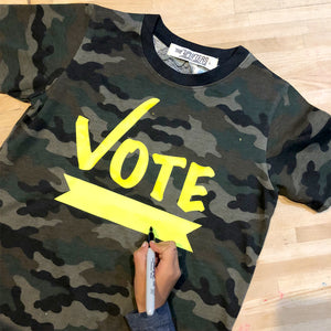 VOTE (fill in the blank) Camo tee,, The Uplifters- Woo