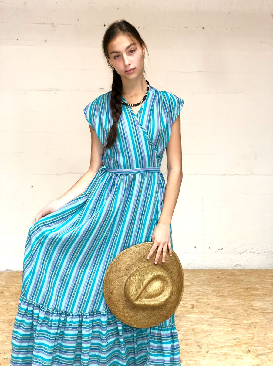 Willow Wrap Tie Maxi Dress - Indian Stripes