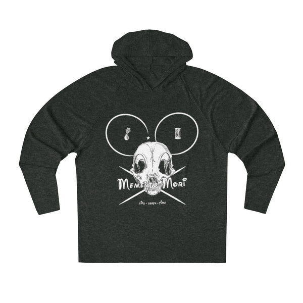 """Memento Mori Mickey"" Black Heather Unisex Tri-Blend Hoodie"