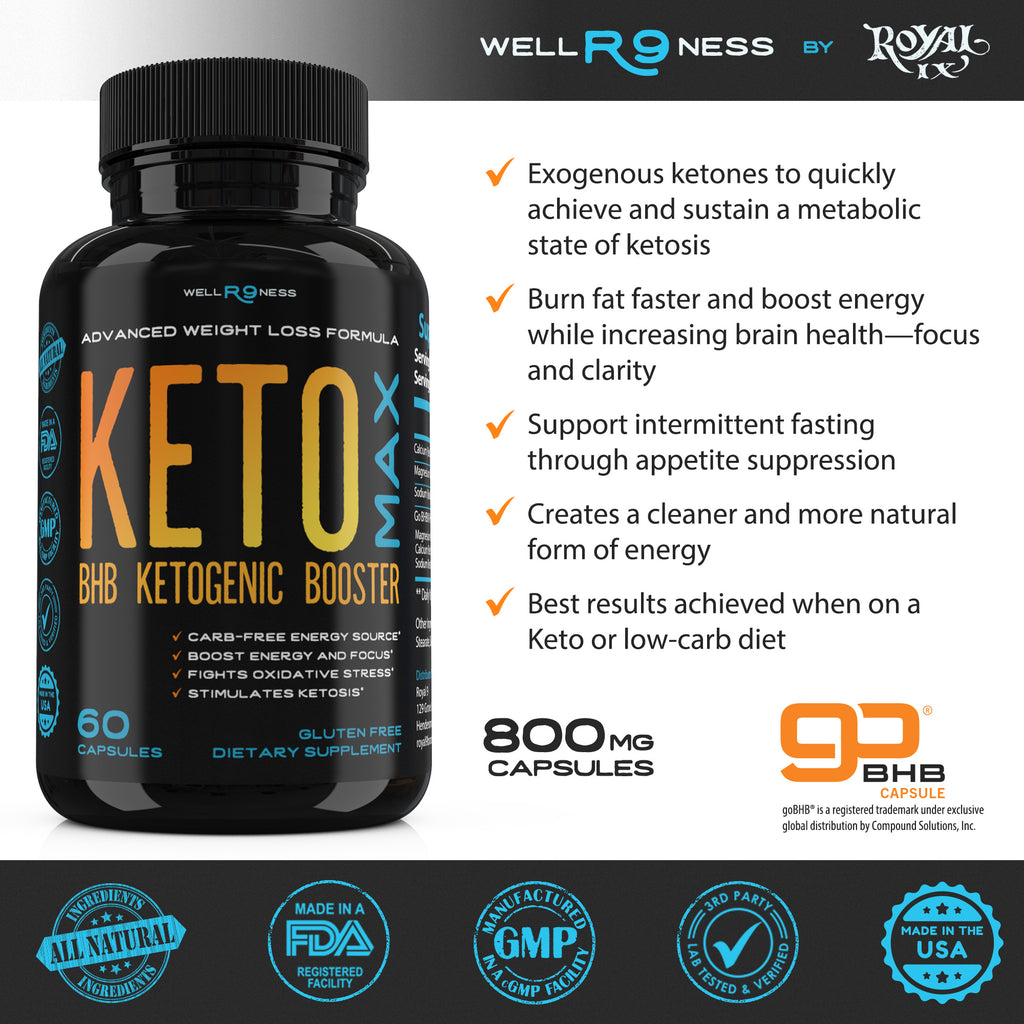 KETO MAX BHB Ketogenic Booster - Keto Advanced Weight Loss Formula - Beta Hydroxybutyrate Keto Pills