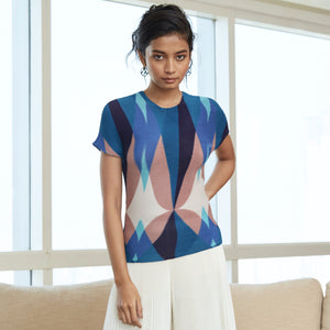 Cube Pleat Geometry Top - Beige & Blue