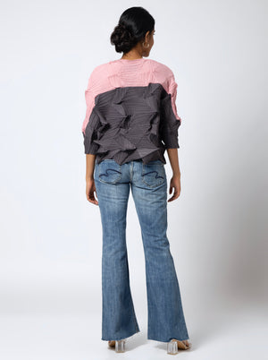 3D Dual Colour Top - Charcoal Grey & Pink