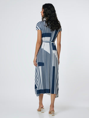 Geometric Stripe Dress - Navy & Ivory