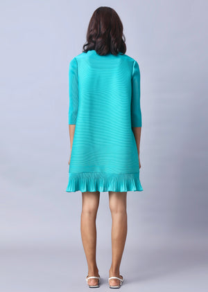 Summer Tie Neck Dress - Aqua Green