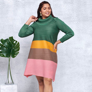 Colourblock Turtleneck Dress - Green