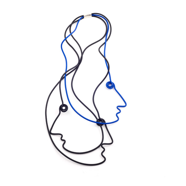 Picasso 3 Faces Necklace - Black Blue