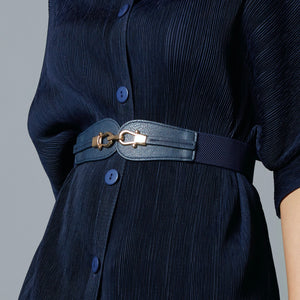 Twin Buckle Belt - Navy