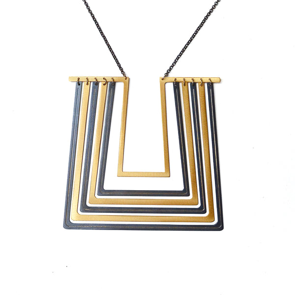 Traces - Unfinished Quads Necklace - Gold & Gun Metal