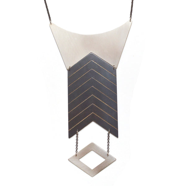 Traces - Directional Geometry Necklace - Silver & Gun Metal