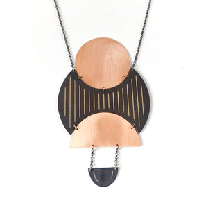 Traces - Complex Circles Necklace - Rose Gold & Gun Metal