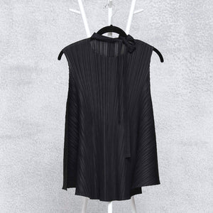 Sleeveless Flare Neck Tie Top - Black